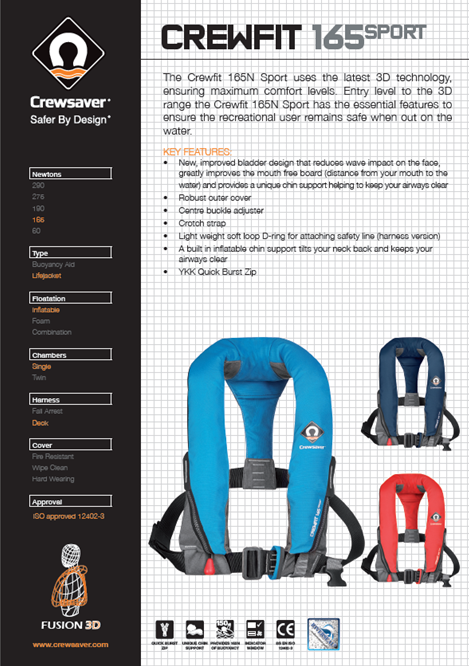Crewsaver Crewfit 165N Sport Lifejacket Automatic Blue With Harness-2485