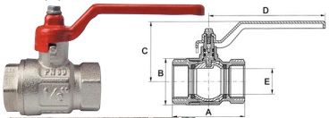 "Ball Valve Female/Female Valve 1/2"" BSP-0"