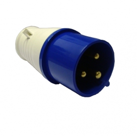 Waveline Industrial Plug 16A 220-250VAC 2P+E IP44Blue-0