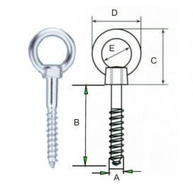 Eye-bolt with wide opening eye 5 x 50mm-0