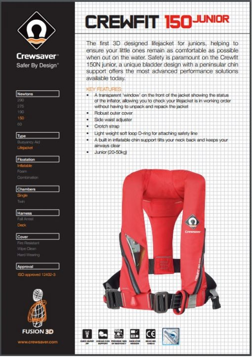 Crewsaver Crewfit 150N Junior Automatic With Harness Red-3304